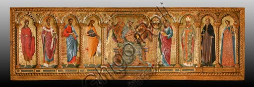 Rome, National Museum of Palazzo Venezia (from the church of St. George in Piran, Slovenia): Paolo Veneziano,  Polyptych of the the Virgin with Child and Saints. From left to right: St. Mary Magdalene, St. Nicholas (Nikolaos of Myra), St. Mark the evangelist, St. John the Baptist, St. John the evangelist, St. Blaise, St. Anthony the Great and St. Catherine of Alexandria.