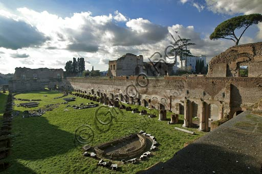 Rome, Palatine Hill: view of the Hippodrome of Domitian (or Palatine Stadium). Too small to be a true Hippodrome, it probably was a private garden or a riding stable (Viridarium), at the exclusive use of the emperor.