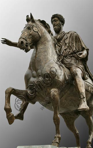 Rome, Capitoline Hill, Capitol square: Equestrian Statue of Marcus Aurelius. Copy from a bronze original of the 2nd Century BC. The original is inside the Museum.