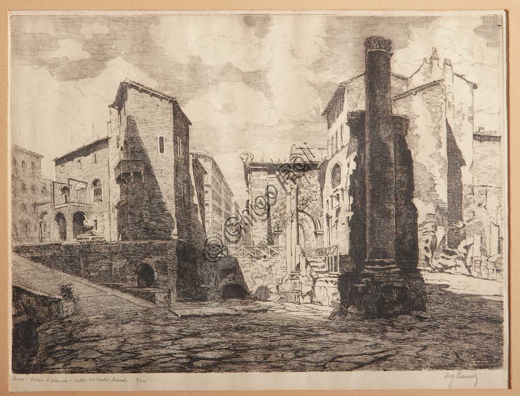 "Assicoop - Unipol Collection: Augusto Baracchi (1878 - 1942), ""Rome, Porticus of Octaviae, and the Ruins of Marcellus' Theatre"", etching on paper."