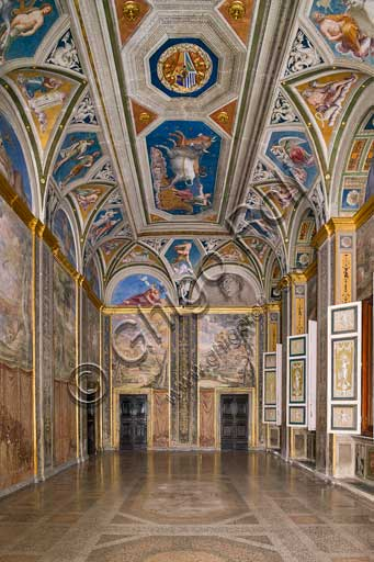 Rome, Villa Farnesina: the Loggia of Galatea. The Loggia ia named according to Raffaello's fresco representing the Triumph of Galatea.