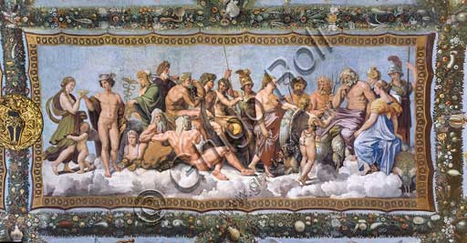 Rome, Villa Farnesina, Loggia of Cupid and Psyche: view of the vault with the Council of the Gods, where the unjustly persecuted girl is finally received by the gods with divine complacence.Fresco by Giovan Francesco Penni on a Raphael's draft  (1517-18).