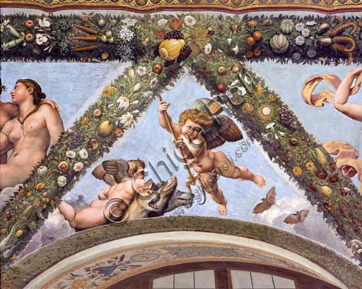 Rome, Villa Farnesina, Loggia of Cupid and Psyche: one vault  pendentive depicting Cupids with Cerberus.Drafted by Raphael, the vault has been depicted by his workshop:  Raffaellino del Colle, Giovan Francesco Penni, Giulio Romano, Giovanni da Udine ,(1517-18).