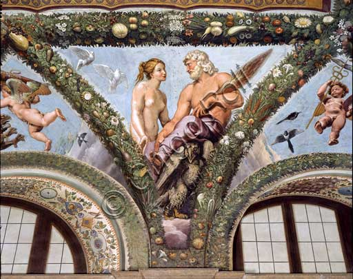 Rome, Villa Farnesina, Loggia of Cupid and Psyche: one vault  pendentive depicting Venus and Jupiter.Fresco by Giovan Francesco Penni on a Raphael's draft (1517-18).