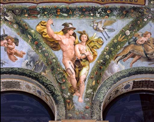 Rome, Villa Farnesina, Loggia of Cupid and Psyche: one vault  pendentive depicting Mercurius and Psyche.Fresco by Giovan Francesco Penni on a Raphael's draft (1517-18).