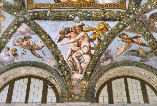 Rome, Villa Farnesina, Loggia of Cupid and Psyche: one vault  pendentive representing Venus instructs Cupid to launch an arrow.Fresco by  Raffaellino del Colle on a Raphael's draft (1517-18).