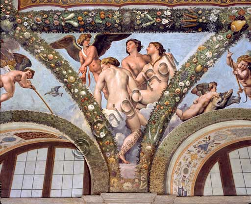Rome, Villa Farnesina, Loggia of Cupid and Psyche: one vault  pendentive representing Cupid and the Graces.Fresco by  Giulio Romano on a Raphael's draft (1517-18).