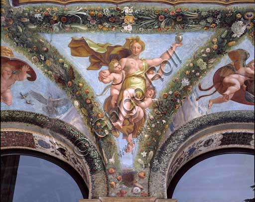 Rome, Villa Farnesina, Loggia of Cupid and Psyche: one vault  pendentive representing Psyche coming back from the underworld, carried by cupids.Fresco by  Giulio Romano on a Raphael's draft (1517-18).