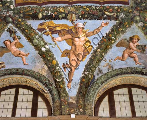 Rome, Villa Farnesina, Loggia of Cupid and Psyche: one vault  pendentive depicting Mercurius.Fresco by  Giulio Romano on a Raphael's draft (1517-18).