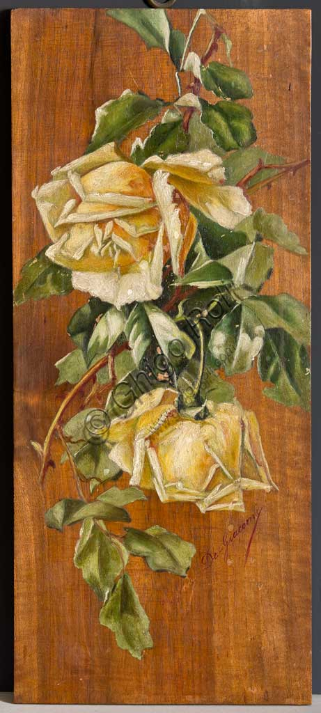 "Assicoop - Unipol Collection: Eugenio De Giacomi, ""Yellow Roses""; oil painting on wood."