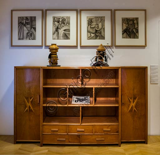Rovereto, Casa Depero: room at the second floor with furniture and works by Fortunato Depero.