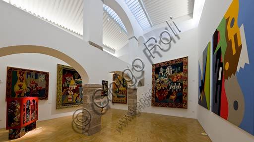 Rovereto, Casa Depero: room of the textile intarsia works.