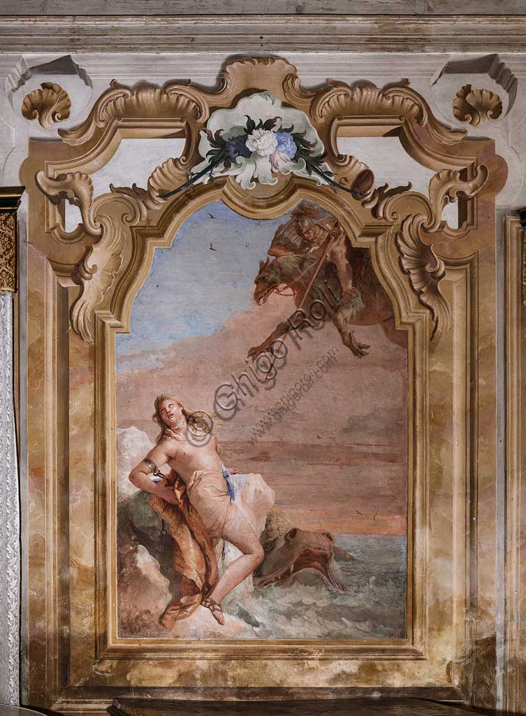 "Vicenza, Villa Valmarana ai Nani, Palazzina (Small Building): second room or room of Ariosto with frescoes representing episodes from ""Orlando Furioso"": ""Ruggiero rescuing Angelica from the sea monster"".  Frescoes by Giambattista Tiepolo, 1756 - 1757."