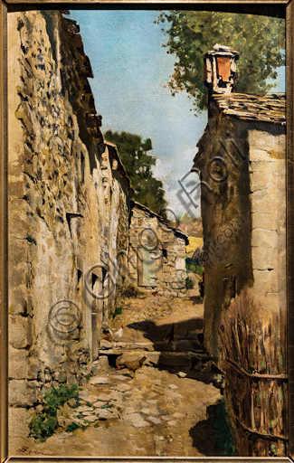 """Telemaco Signorini: """"Farm Building in Settignano"""",  about 1862, oil painting on canvas applied on a panel."""