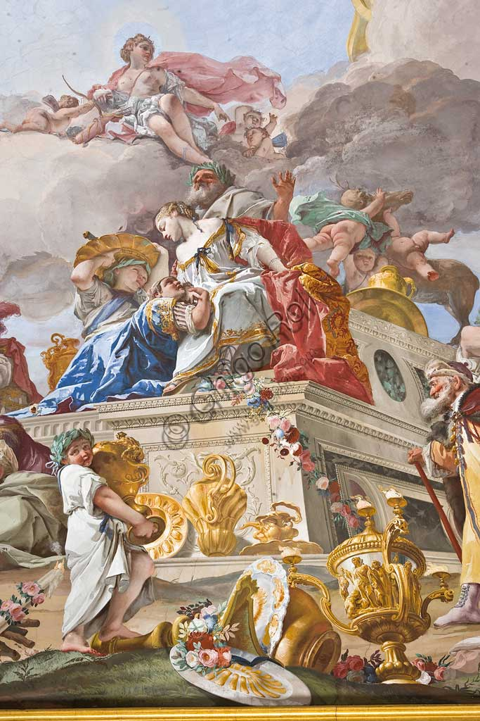 "The Hunting Residence of Stupinigi, the Queen's Apartment, the anteroom ceiling: ""The Sacrifice of Iphigenia"", fresco by Giovan Battista Crosato, 1733.Detail."