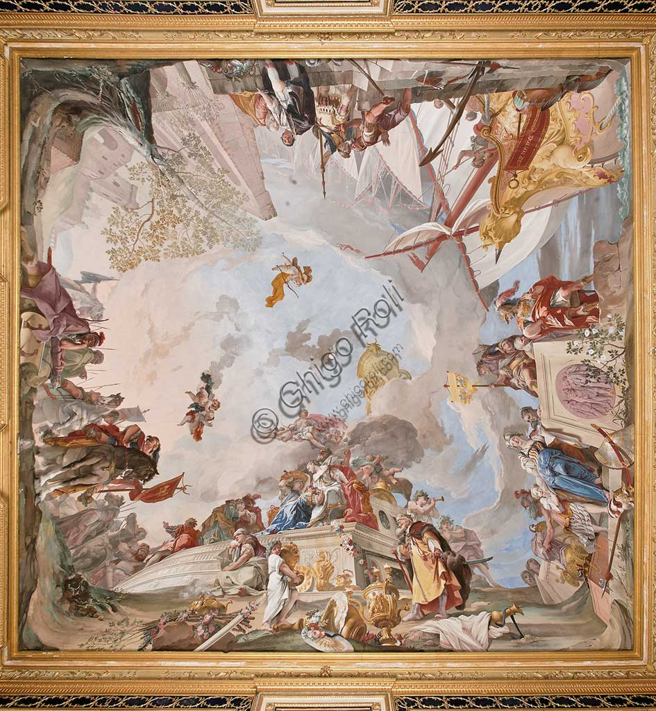 "The Hunting Residence of Stupinigi, the Queen's Apartment, the anteroom ceiling: ""The Sacrifice of Iphigenia"", fresco by Giovan Battista Crosato, 1733."