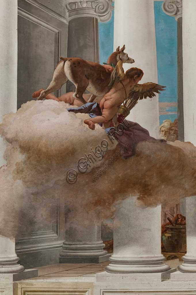 """Vicenza, Villa Valmarana ai Nani, Palazzina, Atrio:  """"Il sacrificio di Ifigenia"""".  Affresco di Giambattista Tiepolo, 1757. Particolare  con la cerva inviata da Artemide in sostituzione di Ifigenia."""