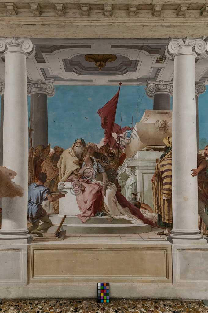 """Vicenza, Villa Valmarana ai Nani, Palazzina, Atrio:  """"Il sacrificio di Ifigenia"""".  Affresco di Giambattista Tiepolo, 1757. Particolare."""