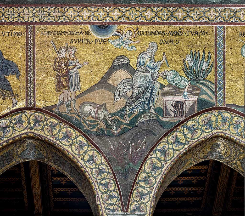 "Monreale, Duomo: ""Sacrifice of Isaac (Stop, Abraham""), Byzantine mosaic, Old Testament cycle - Abraham, XII - XIII century.Latin inscription: ""ABRAHAM, ABRAHAM, NE EXTENDAS MANUM TUAM SUPER PUERUM""."