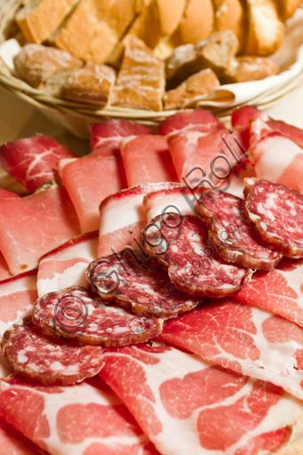 Valtellina typical cold cuts: smoked ham, salami, bresaola, etc