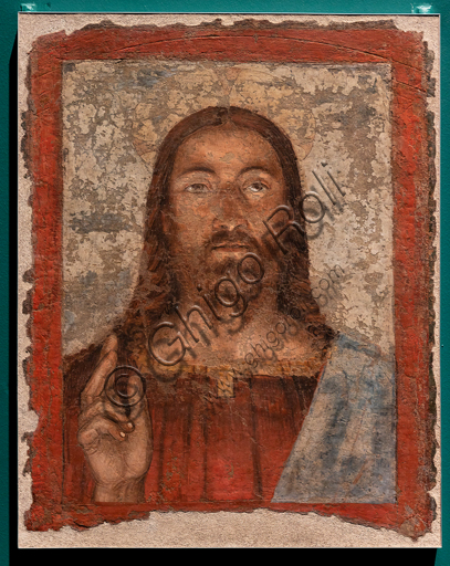 """Perugia, National Gallery of Umbria: """"Salvator Mundi"""", Melozzo da Forlì, Fresco detached and reported on canvas, 1475-85."""