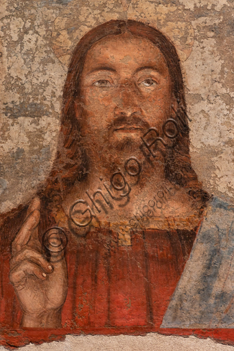 """Perugia, Galleria Nazionale dell'Umbria: """"Salvator Mundi"""", Melozzo da Forlì,  Affresco staccato e riportato su tela, 1475-85."""