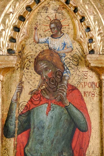 Croatia, Rab (Arbe), Museum of the Cathedral: Paolo Veneziano, Polyptych of the Crucifixion (1350-55). Detail with St. Christopher.