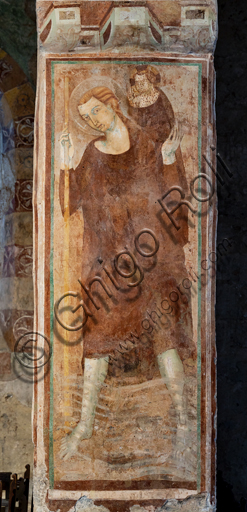 """Orvieto, Badia (Abbey of St.  Severo e Martirio), oratory of the Crucifix, which probably was an ancient and vast refectory:""""St. Christopher"""", fresco from the last quarter of the XIII century."""
