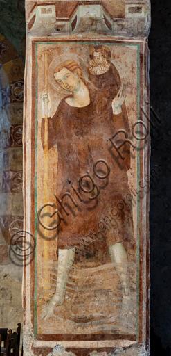 """Orvieto, Badia (Abbazia dei Santi Severo e Martirio), oratorio del Crocifisso, che probabilmente era un antico e vasto refettorio: """"San Cristoforo"""", affresco dell'ultimo quarto del XIII."""