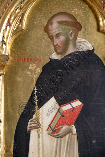 San Severino Marche, Pinacoteca Comunale: Paolo Veneziano, Polyptych (1358) with Saints. Detail of St. Dominic holding a lily (symbol of chastity) in one hand, and a book in the other one.