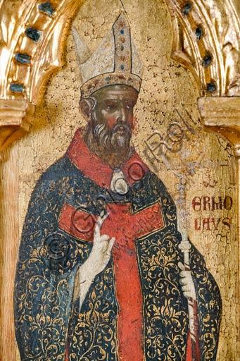 Croazia, Rab (Arbe), Museo della Cattedrale: Paolo Veneziano, Polittico della Crocifissione (1350-55). Particolare con San Ermolao.