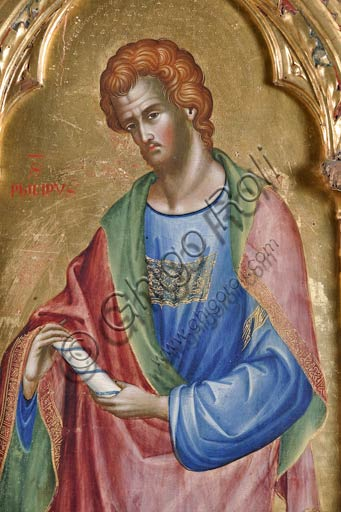 San Severino Marche, Pinacoteca Comunale: Paolo Veneziano, Polyptych (1358) with Saints. Detail of St. Philip.