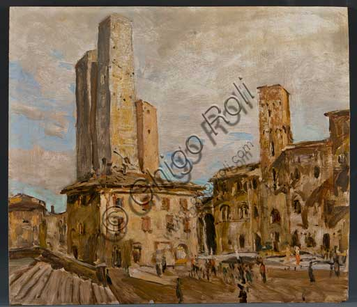 """Collezione Assicoop Unipol:  Giuseppe Graziosi  (1879-1942), """" San Gimignano"""". Olio su compensato, cm 56 x 50"""