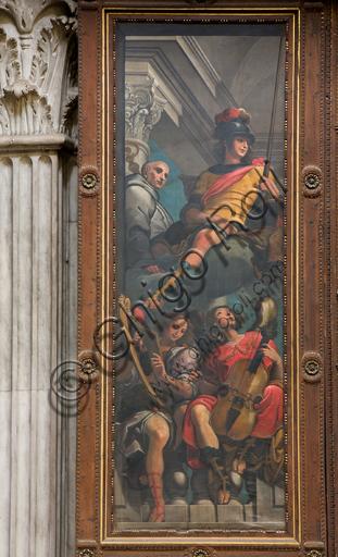 """Genova, Duomo (Cattedrale di S. Lorenzo),  interno, cappella Cybo (braccio settentrionale del transetto), organo a canne di Gaspare Forlani, interno anta sinistra: """"San Giorgio e S. Bernardo tra angeli musicanti"""", di G. Benso (1634 -1636)."""