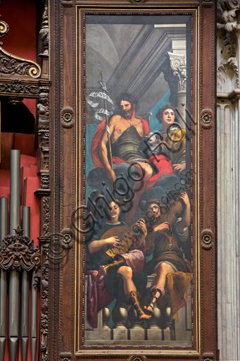 """Genova, Duomo (Cattedrale di S. Lorenzo),  interno, cappella Cybo (braccio settentrionale del transetto), organo a canne di Gaspare Forlani, interno anta destra: """"San Giovanni Battista e S. Lorenzo tra angeli musicanti"""", di G. Benso (1634 -1636)."""