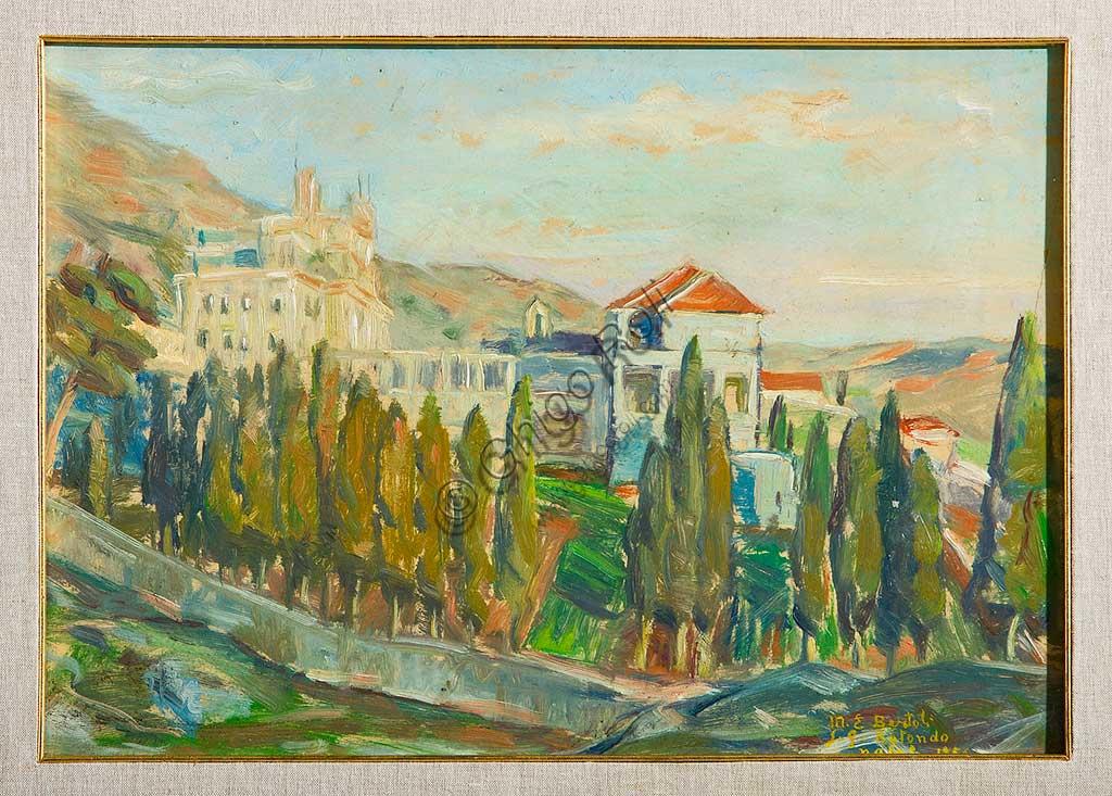 """Collezione Assicoop - Unipol:  Elpidio Bertoli (1902-1982), """"San Giovanni Rotondo"""". Olio su tela, cm 34 x 48."""