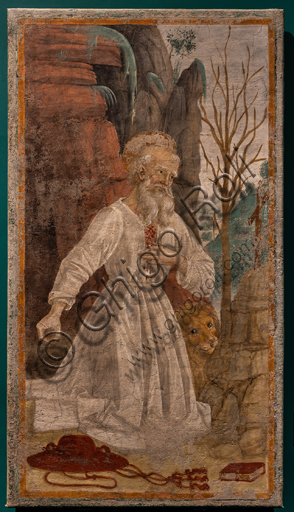 """Perugia, National Gallery of Umbria: """"Saint Jerome in the desert"""", by Pietro Vannucci, called the Parugino. Detached fresco, 1473 -8."""