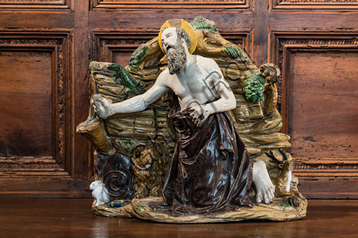 """""""Penitent St. Jerome in the Desert"""", by Giovanni Della Robbia's workshop, glazed terracotta, second half of the 15th century - early 16th century."""