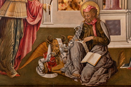 Perugia, National Gallery of Umbria: Annunciation of the Notaries, by Benedetto Bonfigli,1450-3, tempera on panel. Detail of St Luke the evangelist.