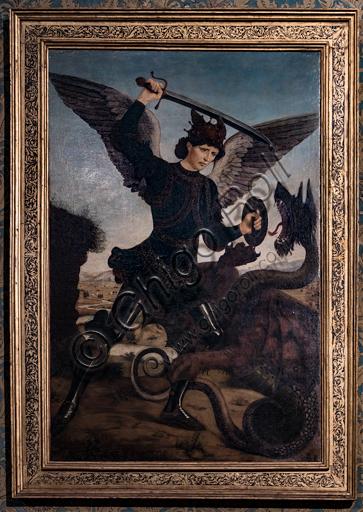 """""""St Michael Archangel killing the dragon"""", by Antonio e Piero del Pollaiolo, before 1465."""