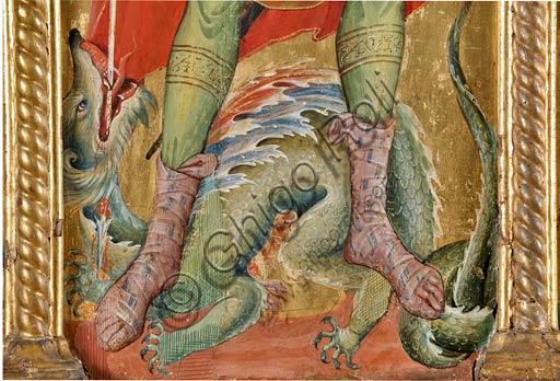 San Severino Marche, Pinacoteca Comunale: Paolo Veneziano, Polittico (1358) con Santi. Particolare con San Michele che sconfigge Satana, nel sembiante di drago.