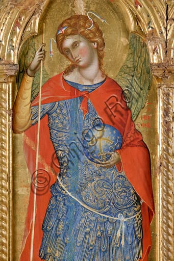 San Severino Marche, Pinacoteca Comunale: Paolo Veneziano, Polyptych (1358) with Saints. Detail of St. Michael  slaying Satan as a dragon.