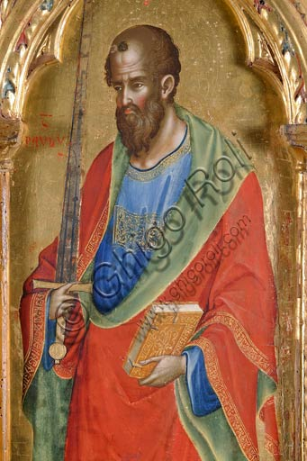 San Severino Marche, Pinacoteca Comunale: Paolo Veneziano, Polyptych (1358) with Saints. Detail of St. Paul holding a sword in one hand and the book in the other one.