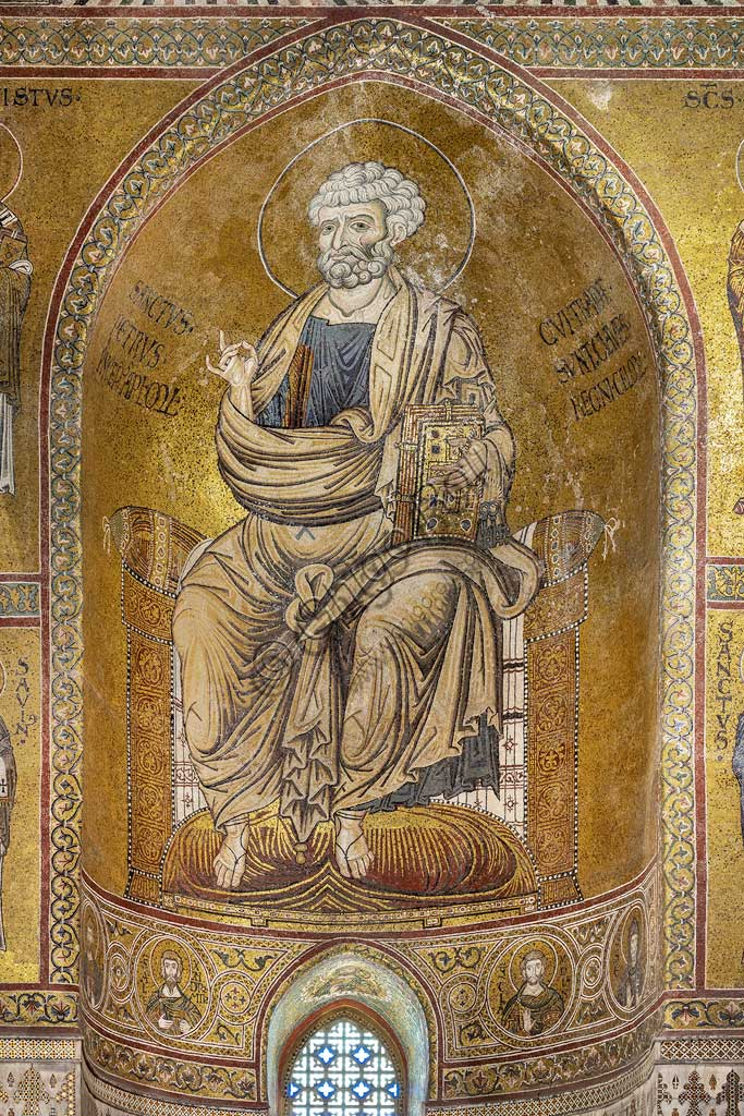 "Monreale, Duomo: ""St. Peter on the throne"", Byzantine mosaic, XII - XIII centuries in  the Southern transept."