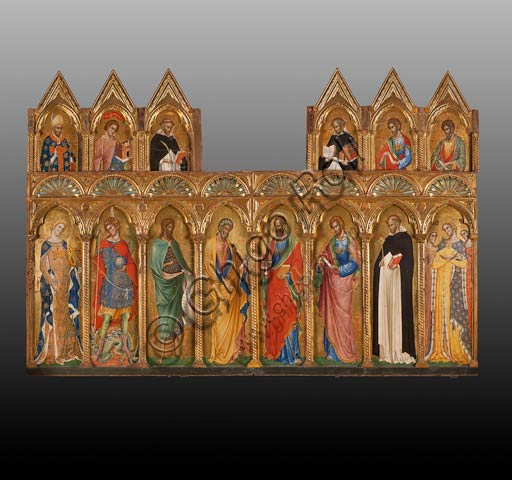 San Severino Marche, Pinacoteca Comunale: Paolo Veneziano, Polyptych (1358) with Saints.From left to right and top to bottom: St. Severino, St. Venanzio, St. Peter Martyr, St. Thomas Aquinas, St. Thomas the Apostle, St. Bartholomew, St. Catherine of Alexandria, St. Michael Archangel, St. John the Baptist, St. Peter the Apostle, St. Paul, St. Philip, St. Dominic and St. Ursula.