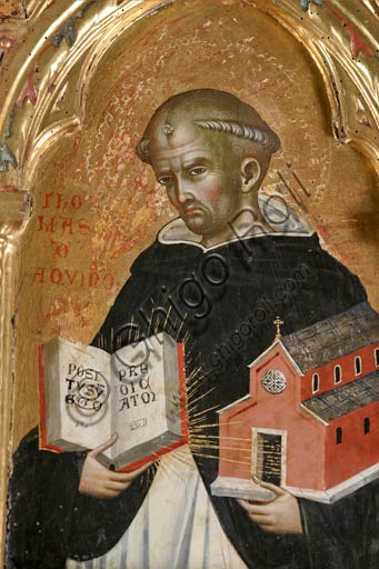 San Severino Marche, Pinacoteca Comunale: Paolo Veneziano, Polyptych (1358) with Saints. Detail of St. Thomas Aquinas holding a church in one hand and a book in the other one.