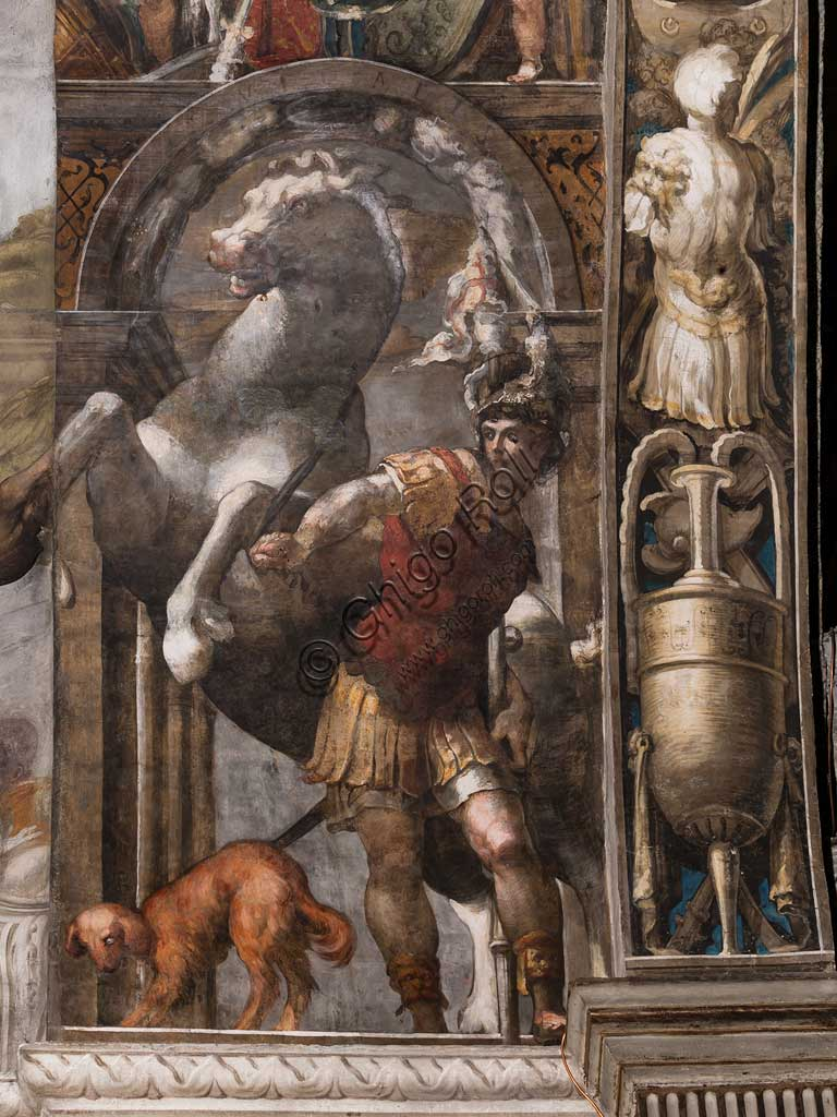 "Parma, Church of San Giovanni Evangelista, left aisle, second chapel: ""St. Vitalis and the horse"",  fresco by Girolamo Francesco M. Mazzola, known as Parmigianino (about 1523)."