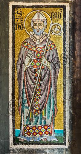 Firenze, Battistero di San Giovanni, i matronei, galleria est,  tribuna centrale (degli Evangelisti):  mosaici dell'ambiente del Maestro di San Gaggio e del Maestro di Santa Cecilia (circa 1300-1310). Particolare con San Zenobio (S. Zanobi).