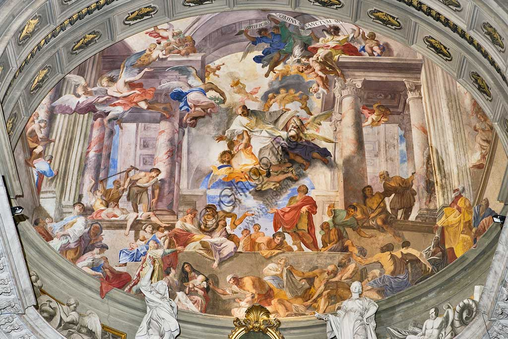 "Rome, S. Ignazio Church, interior, the bowl -shaped vault of the apse: ""St. Ignatius taking care of the sick and the poor"", fresco by Andrea Pozzo, 1685."