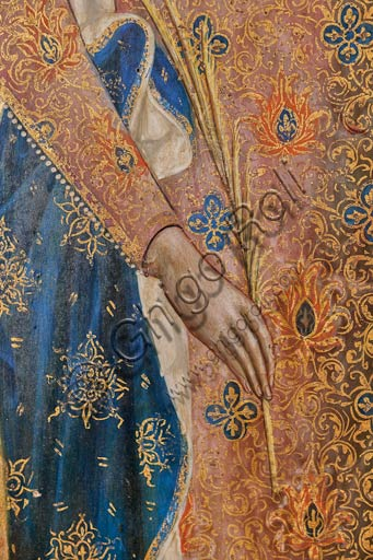 San Severino Marche, Pinacoteca Comunale: Paolo Veneziano, Polyptych (1358) with Saints. Detail of St. Catherine of Alessandria holding a branch of palm tree..